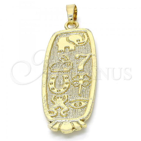Gold Layered 05.213.0009 Fancy Pendant, Elephant and Frog Design, Polished Finish, Golden Tone
