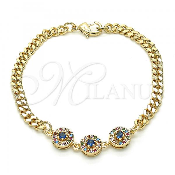 Gold Layered 03.233.0030.08 Fancy Bracelet, with Multicolor Cubic Zirconia, Polished Finish, Golden Tone