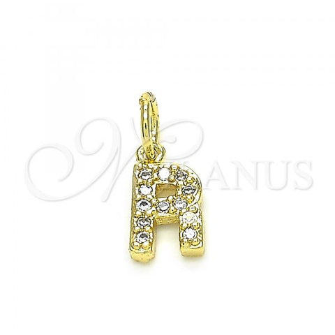 Gold Layered 05.341.0035 Fancy Pendant, Initials Design, with White Cubic Zirconia, Polished Finish, Golden Tone