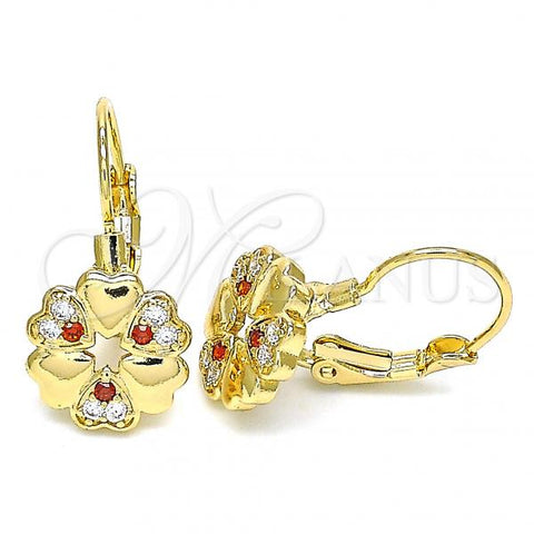 Gold Layered 02.210.0382.1 Leverback Earring, Flower and Heart Design, with Garnet and White Micro Pave, Polished Finish, Golden Tone