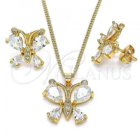 Gold Layered 10.284.0004 Earring and Pendant Adult Set, Butterfly Design, with White Cubic Zirconia, Polished Finish, Golden Tone
