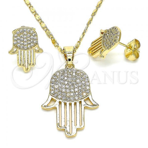 Gold Layered 10.316.0059 Earring and Pendant Adult Set, Hand of God Design, with White Micro Pave, Polished Finish, Golden Tone