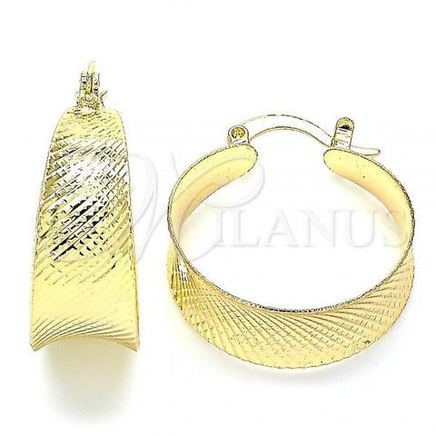 Gold Layered 02.170.0363.25 Small Hoop, Diamond Cutting Finish, Golden Tone