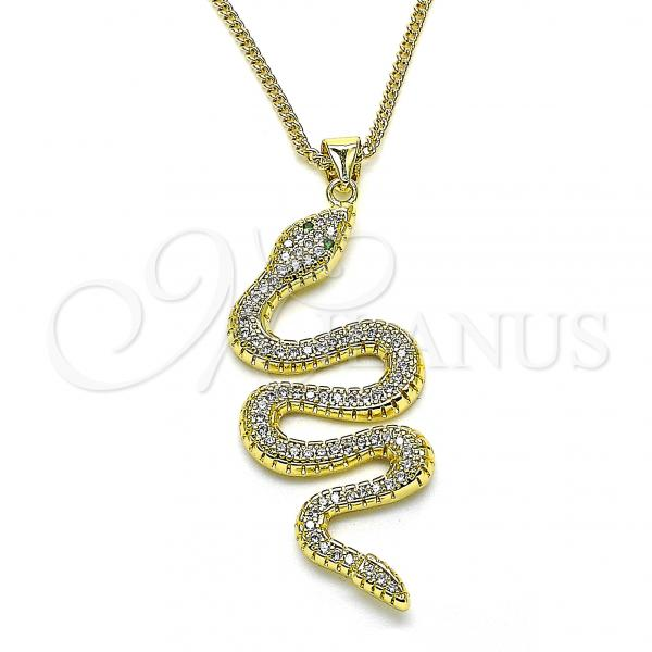 Gold Layered 04.368.0010.20 Pendant Necklace, Snake Design, with White and Green Micro Pave, Polished Finish, Golden Tone