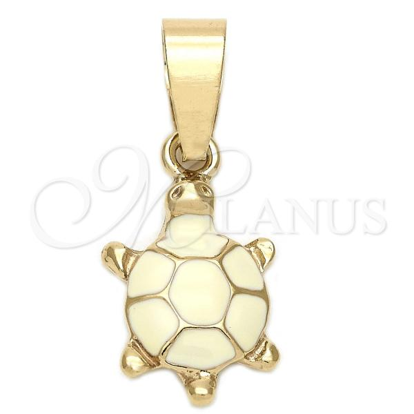 Gold Layered Fancy Pendant, Turtle Design, Golden Tone