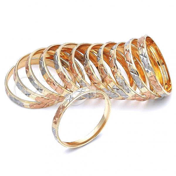 Gold Plated Dozen Bangle, Tri Tone