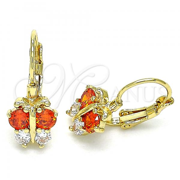 Gold Layered 02.210.0381.1 Leverback Earring, Butterfly Design, with Garnet and White Cubic Zirconia, Polished Finish, Golden Tone