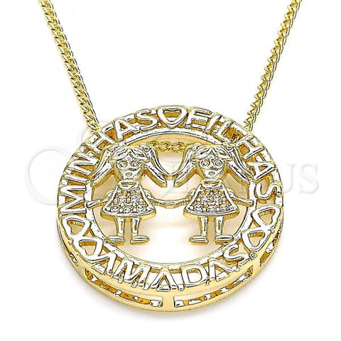 Gold Layered 04.156.0253.20 Pendant Necklace, Little Girl Design, with White Micro Pave, Polished Finish, Golden Tone