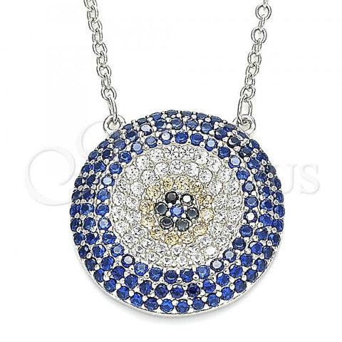 Sterling Silver 04.336.0226.16 Fancy Necklace, with Multicolor Micro Pave, Polished Finish, Rhodium Tone