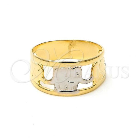 Gold Layered Baby Ring, Elephant Design, Two Tone