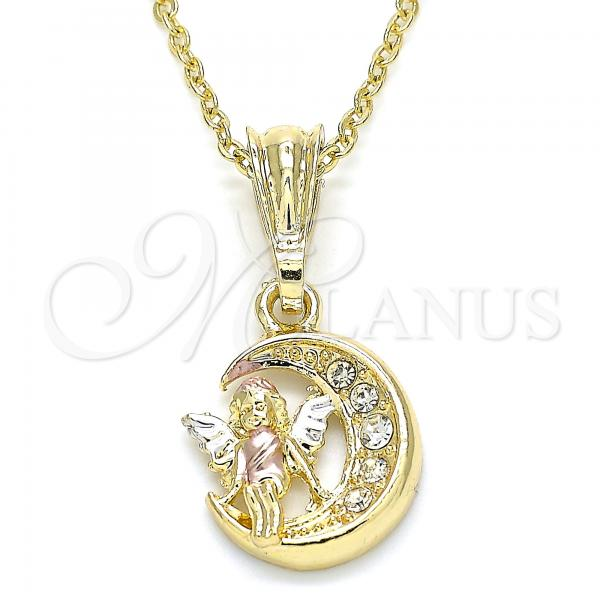 Gold Layered 05.351.0060 Religious Pendant, Angel and Moon Design, with White Crystal, Polished Finish, Tri Tone