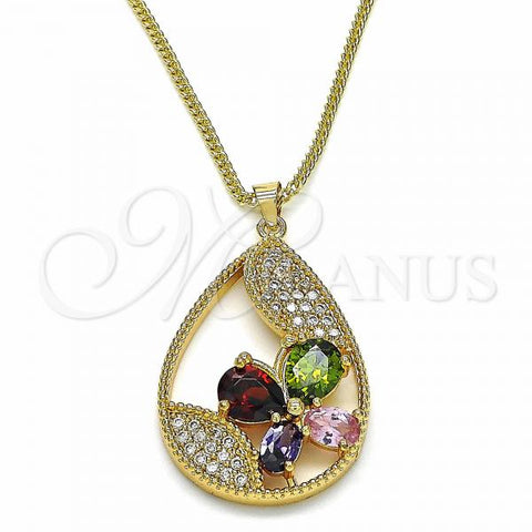 Gold Layered 04.284.0022.20 Fancy Necklace, Teardrop and Butterfly Design, with Multicolor Cubic Zirconia, Polished Finish, Golden Tone