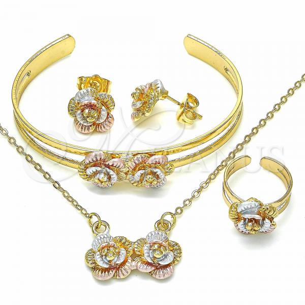 Gold Layered 06.361.0018 Necklace, Bracelet, Earring and Ring, Flower Design, Polished Finish, Tri Tone
