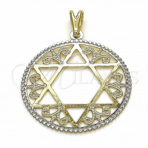 Gold Layered 05.09.0085 Religious Pendant, Star of David Design, Polished Finish, Golden Tone