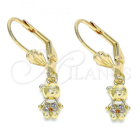 Gold Layered 02.316.0065.1 Dangle Earring, Little Boy Design, with Multicolor Micro Pave, Polished Finish, Golden Tone