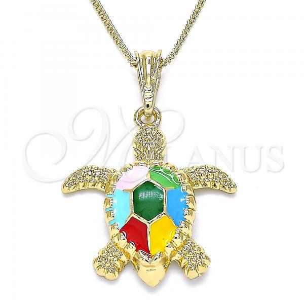 Gold Layered 04.380.0001.1.20 Pendant Necklace, Turtle Design, Multicolor Enamel Finish, Golden Tone