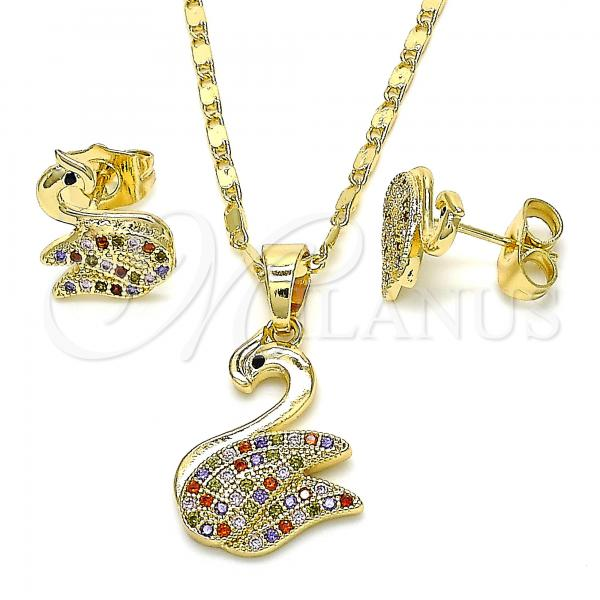 Gold Layered 10.316.0039 Earring and Pendant Adult Set, Swan Design, with Multicolor Micro Pave, Polished Finish, Golden Tone