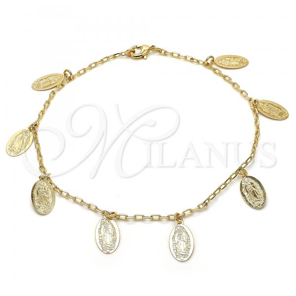 Gold Layered 04.63.1377.10 Charm Anklet , Guadalupe Design, Polished Finish, Golden Tone