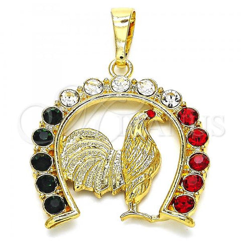 Gold Layered 05.351.0005 Fancy Pendant, with Multicolor Crystal, Polished Finish, Golden Tone