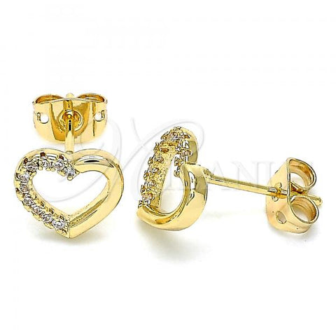 Gold Layered 02.342.0096 Stud Earring, Heart Design, with White Micro Pave, Polished Finish, Golden Tone