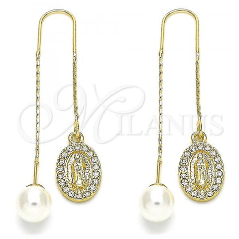 Gold Layered 02.253.0008 Threader Earring, Guadalupe Design, with White Crystal, Polished Finish, Golden Tone