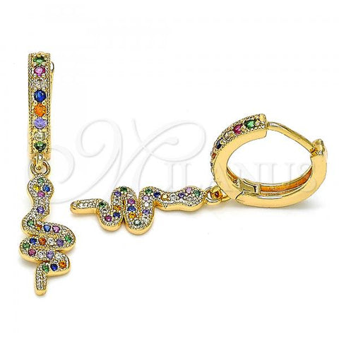 Gold Layered 02.377.0015.15 Huggie Hoop, Snake Design, with Multicolor Micro Pave, Polished Finish, Golden Tone