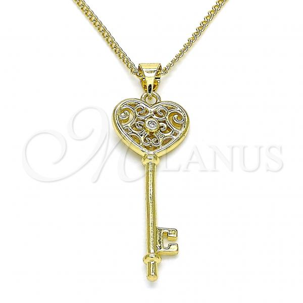 Gold Layered 04.99.0040.20 Pendant Necklace, key and Heart Design, with White Micro Pave, Polished Finish, Golden Tone