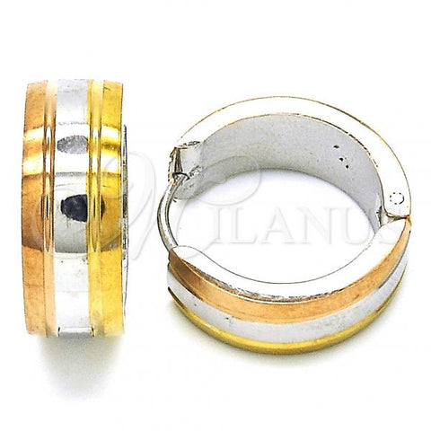 Stainless Steel 02.230.0041.20 Huggie Hoop, Polished Finish, Tri Tone