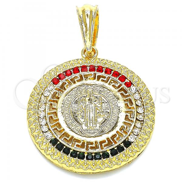Gold Layered 05.351.0002 Religious Pendant, San Benito and Greek Key Design, with Orange Crystal, Polished Finish, Golden Tone