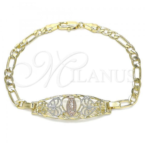 Gold Layered 03.351.0089.1.80 Fancy Bracelet, Guadalupe and Heart Design, Polished Finish, Tri Tone