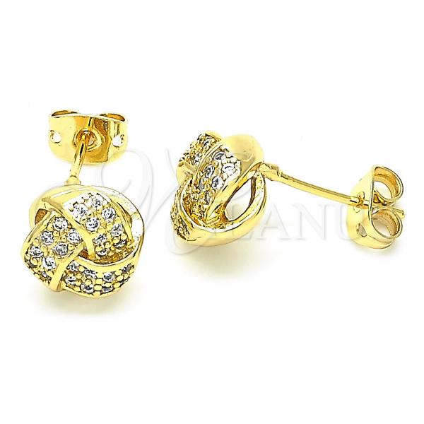 Gold Layered 02.342.0066 Stud Earring, Love Knot Design, with White Cubic Zirconia, Polished Finish, Golden Tone