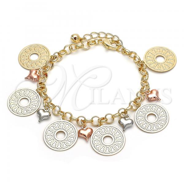 Gold Layered 03.331.0003.08 Charm Bracelet, Heart Design, Polished Finish, Tri Tone