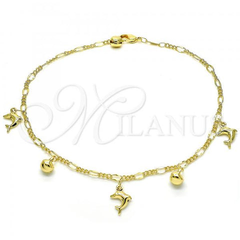 Gold Layered 03.318.0021.11 Charm Anklet , Dolphin and Rattle Charm Design, Polished Finish, Golden Tone