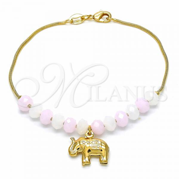 Gold Layered 03.32.0221.07 Charm Bracelet, Elephant and Snake  Design, with White and Pink Opal, Polished Finish, Golden Tone