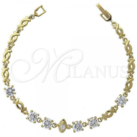 Gold Layered 5.027.009 Fancy Bracelet, Hugs and Kisses Design, with White Cubic Zirconia, Polished Finish, Golden Tone