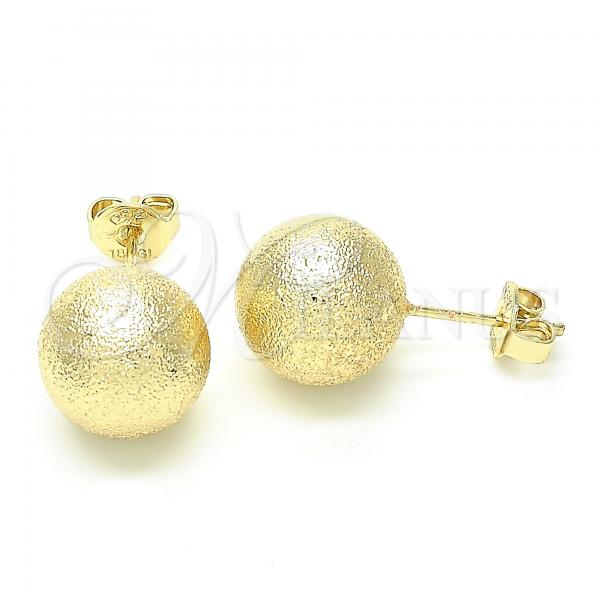 Gold Layered Stud Earring, Ball Design, Golden Tone
