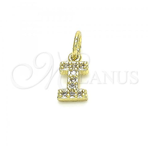 Gold Layered 05.341.0029 Fancy Pendant, Initials Design, with White Cubic Zirconia, Polished Finish, Golden Tone