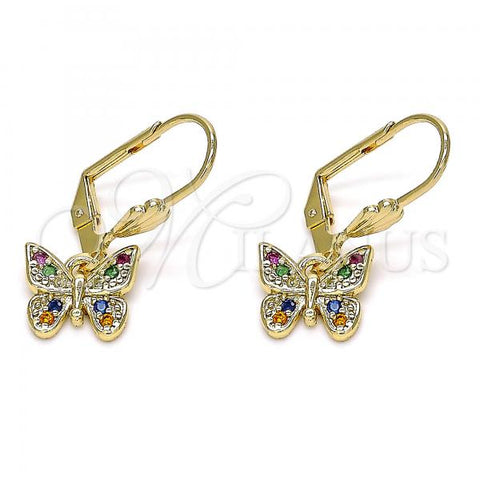 Gold Layered 02.210.0344.1 Dangle Earring, Butterfly Design, with Multicolor Micro Pave, Polished Finish, Golden Tone
