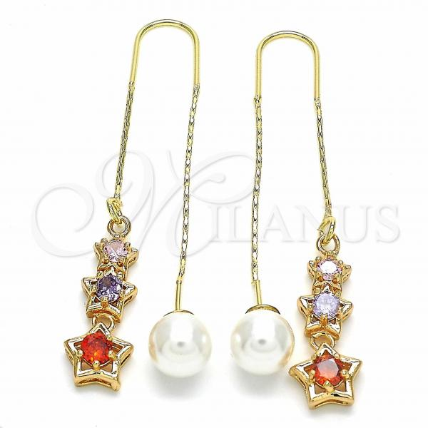 Gold Layered 02.323.0080 Threader Earring, Star Design, with Multicolor Cubic Zirconia, Polished Finish, Golden Tone