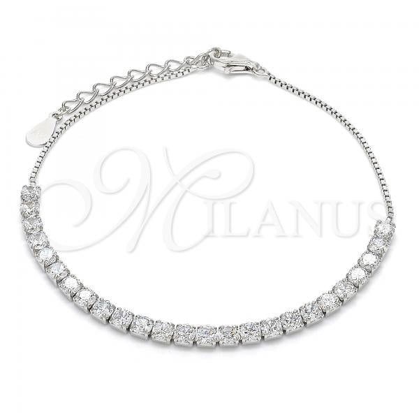 Sterling Silver 03.336.0028.07 Fancy Bracelet, with White Crystal, Polished Finish, Rhodium Tone