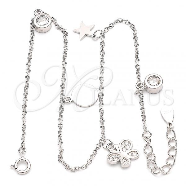 Sterling Silver 03.336.0051.10 Charm Anklet , Butterfly and Star Design, with White Cubic Zirconia, Polished Finish, Rhodium Tone