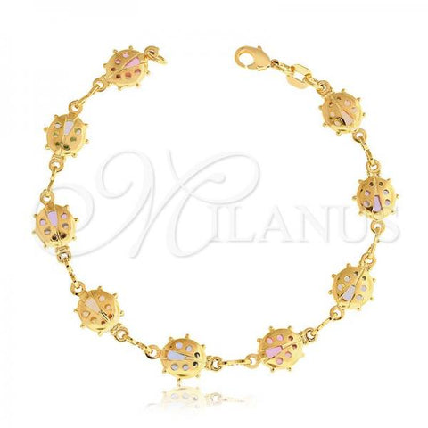 Gold Layered 03.32.0119.06 Fancy Bracelet, Ladybug Design, with Multicolor Crystal, Multicolor Resin Finish, Golden Tone