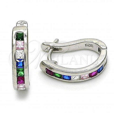 Sterling Silver 02.332.0050.12 Huggie Hoop, with Multicolor Cubic Zirconia, Polished Finish, Rhodium Tone