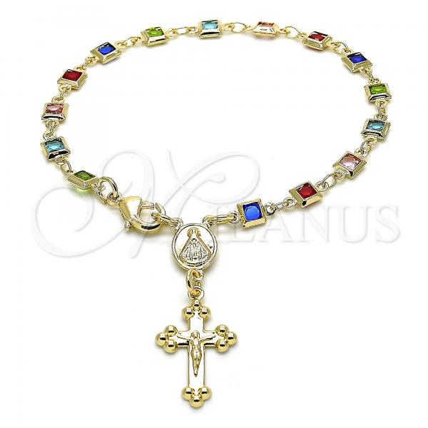 Gold Layered 09.326.0004.07 Bracelet Rosary, Polished Finish, Golden Tone Caridad del Cobre and Crucifix Design, with Multicolor Crystal, Polished Finish, Golden Tone