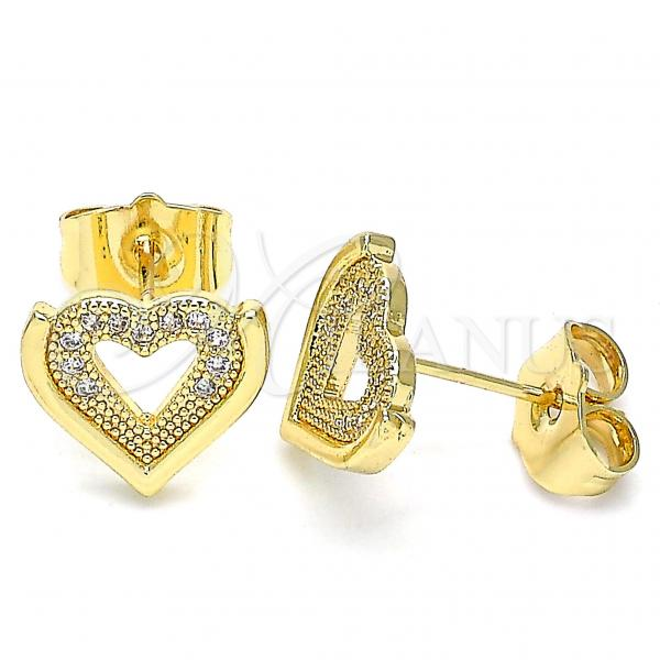 Gold Layered 02.156.0511 Stud Earring, Heart Design, with White Micro Pave, Polished Finish, Golden Tone