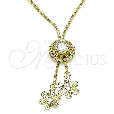 Gold Layered 04.347.0006.1.20 Fancy Necklace, Flower Design, with White Cubic Zirconia, Polished Finish, Golden Tone