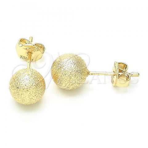 Gold Layered 5.128.002 Stud Earring, Ball Design, Matte Finish, Golden Tone