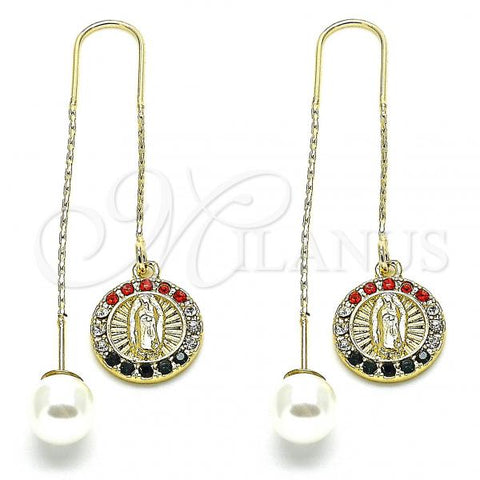 Gold Layered 02.253.0007.1 Threader Earring, Guadalupe Design, with Multicolor Crystal, Polished Finish, Golden Tone