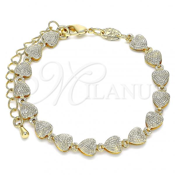 Gold Layered 03.145.0014.06 Fancy Bracelet, Heart Design, Polished Finish, Golden Tone