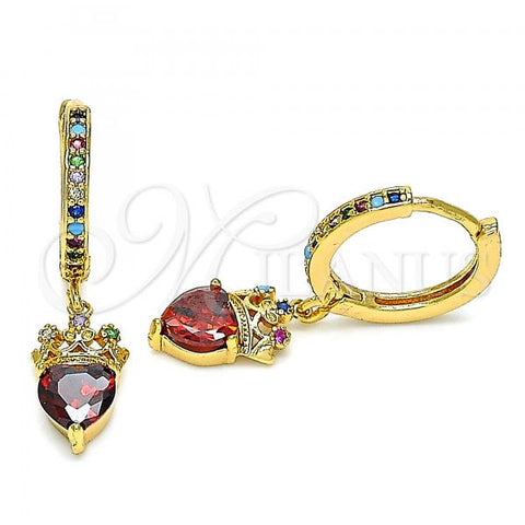 Gold Layered 02.377.0014.15 Huggie Hoop, Heart and Crown Design, with Multicolor Micro Pave, Polished Finish, Golden Tone